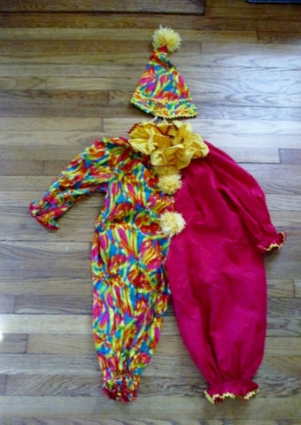 Vintage Child CLOWN Costume Cosplay Disguise Halloween COLORFUL Hat Collar