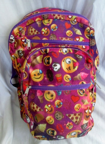 TOP TRENZ BACKPACK EMOJICON Shoulder Rucksack Travel BAG PURPLE