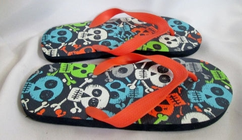 NEW THE CHILDREN'S PLACE SKULL Shower Water Sandals Flip Flop L 5/6 THONGS Pool Beach
