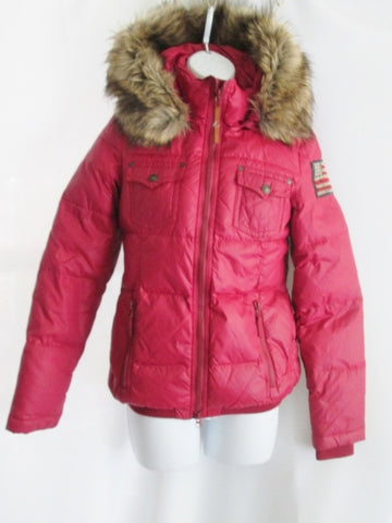 Womens TRUE RELIGION Puffer Jacket Coat Down Ski CHERRY RED XS Hood Faux Fur