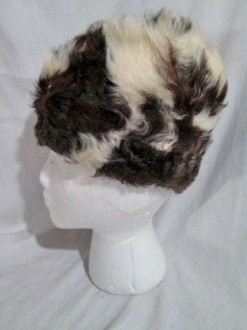 Vintage Handmade Fur Hat Cap Trooper Trapper Aviator M WHITE BROWN Cosplay Disguise
