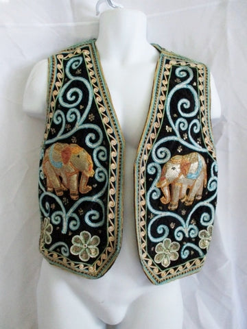 CAROL HORN WORKSHOP Embroidered ELEPHANT Festival Ethnic VEST OS WOW!