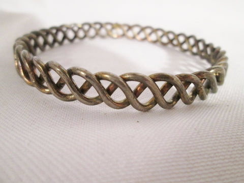 Woven Braided Boho SILVER Arts Crafts Bracelet Cuff Bangle Statement Arm Band Wrist