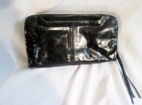 HOBO THE ORIGINAL Leather Baguette Wristlet Purse Wallet Clutch Flap Bag BLACK Organizer