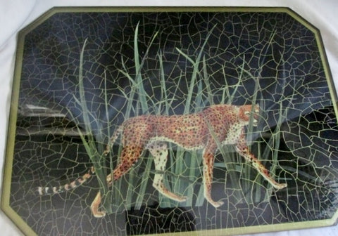 "15 X 11"" Canada Crackled LEOPARD CHEETAH PANTHER Glass Serving Tray BLACK Animal"