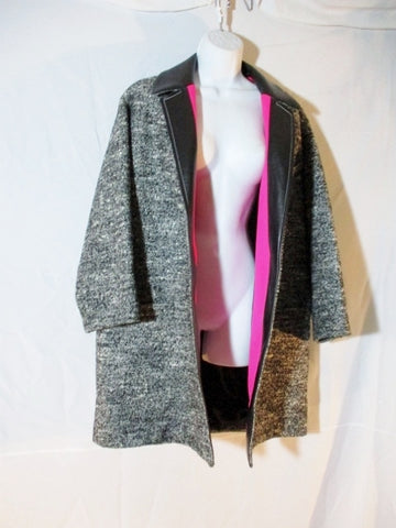 NEW BALENCIAGA PARIS TWEED LEATHER jacket coat 36 BLACK PINK Womens