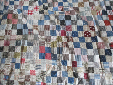 "Handmade Vintage Antique AMISH QUILT Blanket Throw Bedspread 92"" MULTI"