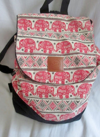 T-BAGS ELEPHANT Vegan BACKPACK Shoulder Rucksack Travel BAG Daytripper RED BLACK WHITE