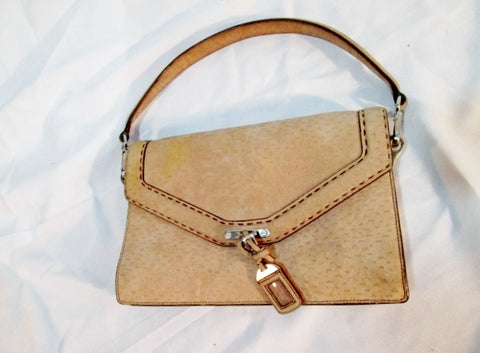 Authentic PRADA suede leather clutch satchel flap purse BEIGE TAN wristlet