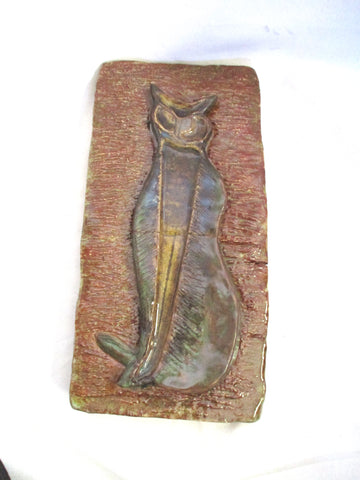 FRANK BLANCHET Ceramic CAT KITTY Sculpture Folk Wall Art BROWN 1970s Primitive