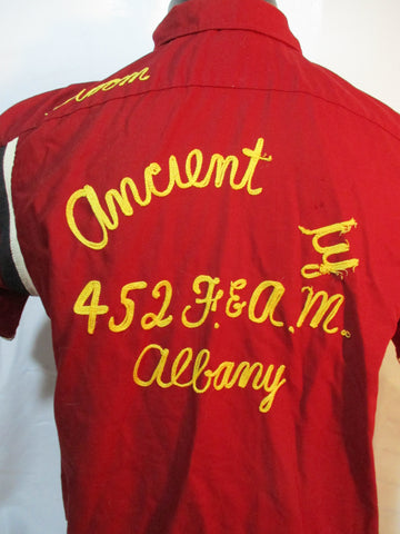 Vintage HILTON ALBANY TEAM BOWLING Rockabilly Retro Shirt 16-16.5 Button Up
