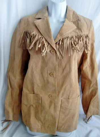 NEW NWT Womens DENIM & CO. Suede Cowboy FRINGE Hippie Jacket Coat BROWN S