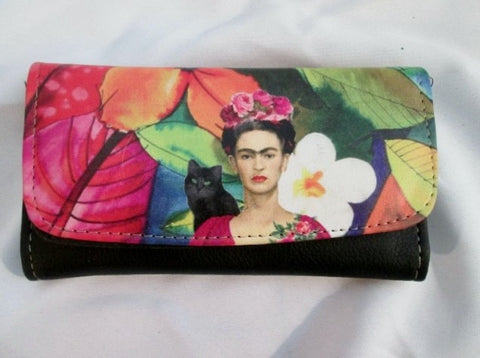 FRIDA KAHLO Floral Flap Purse Wallet Organizer Trifold BLACK Vegan Colorful