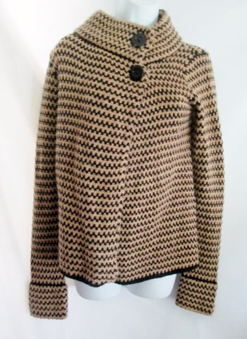 NEW XXI Ethnic Button Up Chunky Knit Sweater Cardigan Jacket TAUPE BLACK S