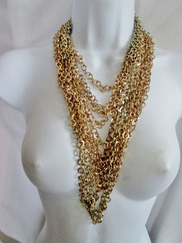 Multi-Strand Chainlink Steampunk Chainmail Runway Tier NECKLACE GOLD ETHNIC TRIBAL Layer