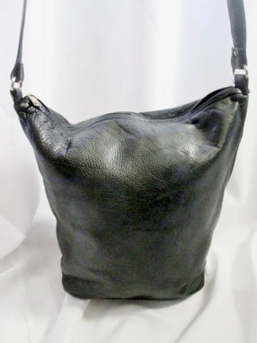 BOULDER RIDGE SHAFMASTER LEATHER CO. hobo satchel shoulder sling bag BLACK bucket