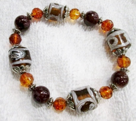 Handmade MURANO ITALY Beaded ITALIAN Glass Drop Bracelet Cuff BROWN SILVER WHITE