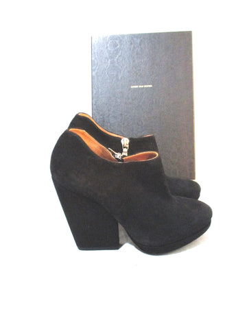 NEW DRIES VAN NOTEN Suede Mini Ankle Bootie Boot 36 BLACK NIB Leather