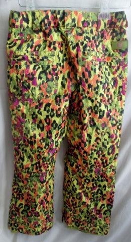EUC Kids Juniors BURTON Winter Ski Snowboard Snow Pants YELLOW LEOPARD L 10-12