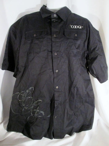 Mens COOGI Embroidered LOGO Button-Up Shirt BLACK XXXL 3XL Stud Rapper Urban