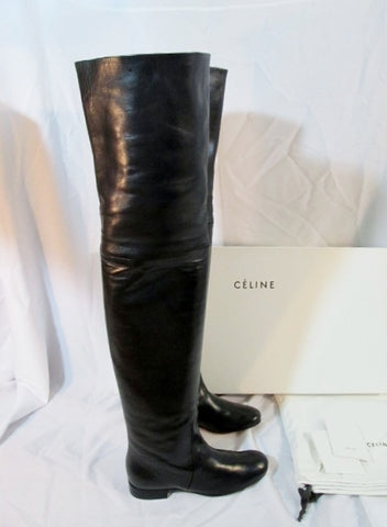 Womens CELINE PARIS Leather Thigh High Boot 25 ITALY 37 6.5 BLACK EUC
