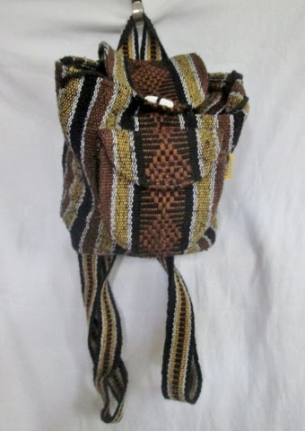 ARTESANIAS PINZON Aztec Mexican Rucksack Daytripper BACKPACK BAG BROWN BLACK Blanket