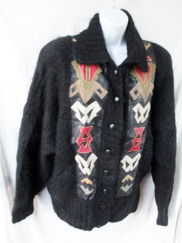 Womens Southwest Leather Knit Ethnic MOHAIR Jacket Cardigan Sweater BLACK Aztec
