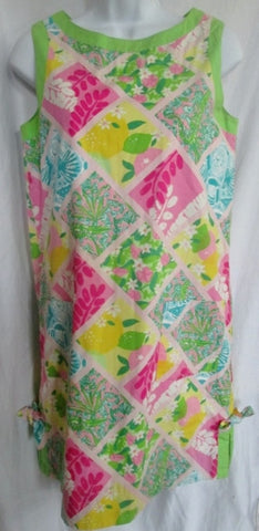 Womens LILLY PULITZER Cotton Mini Shift Sheath Dress PATCHWORK 4 PINK GREEN