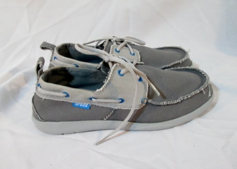 NEW Mens CROCS 15366 WALU CANVAS DECK Shoe BOAT GRAY 11 / 13