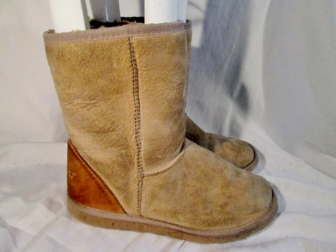 Womens AUSFURS AUSTRALIA Suede Sheepskin Winter BOOTS 9 BROWN Shearling