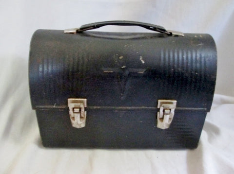 "Vintage ""V"" THERMOS Tin Metal INDUSTRIAL LUNCHBOX Lunch Box BLACK Dome Retro"