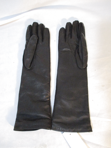 NWT NEW BARNEY'S NEW YORK Leather Cashmere Gloves 6.5 BLACK Driving