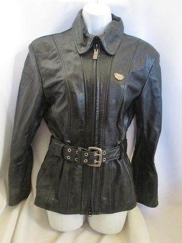Womens HEIN GERICKE FIRSTGEAR Leather moto jacket coat BLACK 36 S riding biker