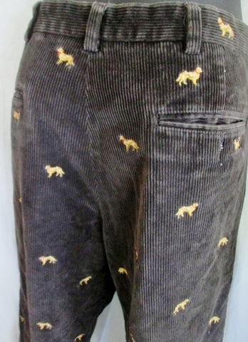 Mens 346 BROOKS BROTHERS DOG Embroidered Corduroy Pants Jeans BLACK 34 X 30
