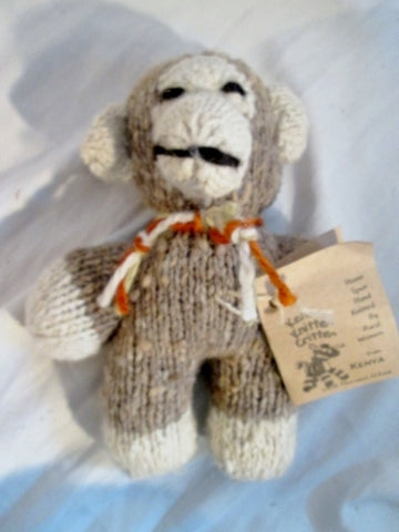 NEW NWT HANDMADE Wool Plush HAND KNIT BABY MONKEY Mini Stuffed Animal AFRICA Doll Toy