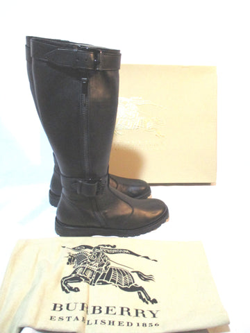 BURBERRY Leather MOTO Buckle Boot 36.5 Rocker Rider Riding BLACK