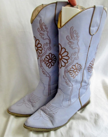 Womens WANTED OAKLEY Vegan Western Cowboy BOOTS PURPLE 9 Rocker LAVENDER Riding