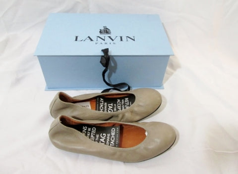 NEW Womens LANVIN PARIS Suede GRIS Leather Ballet Flat Shoe 36.5 / 6 TAUPE Slip-on