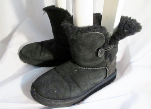 Kids Girls UGG AUSTRALIA 5991Y BAILEY BUTTON Suede Winter BOOTS Shoe BLACK 5 Snow