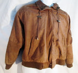 MENS IZZI Leather FLIGHT Bomber Jacket Coat Aviator BROWN L