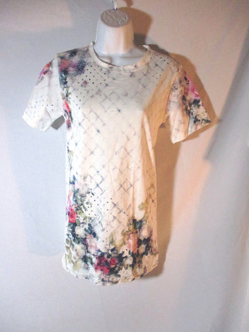 NWT NEW BALMAIN PARIS ROSE FLOWER FENCE T-Shirt Tee 38 Top