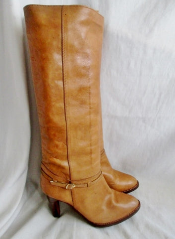 Womens BUCCELATTI BRAZIL Knee High LEATHER Moto Rocker RIDER BOOT BROWN 10