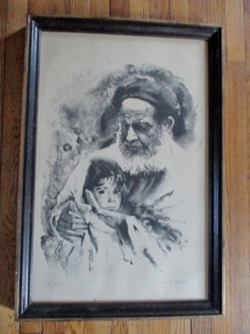 SIGNED SANDU LIEBERMAN MAN BOY LITHOGRAPH Picture ART Artist Proof!