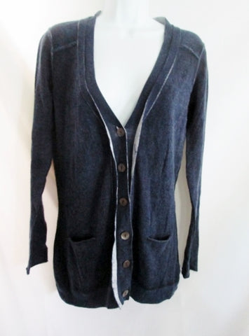 NEW Womens AUTUMN CASHMERE Jacket Coat Cardigan Sweater S NAVY BLUE Button Up