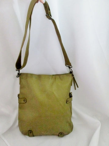 ESPRIT Vegan Crossbody Handbag Satchel Carryall OLIVE GREEN KHAKI Stud Boho Shopper