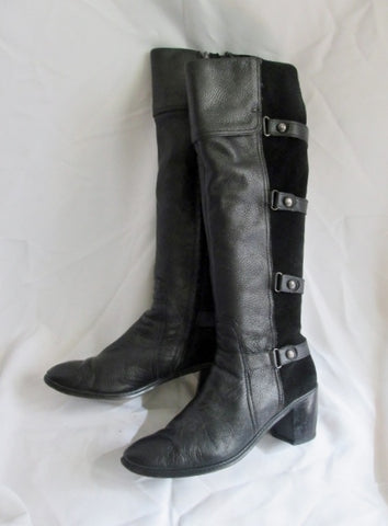 Womens CIRCA JOAN DAVID Tall Suede Leather Strappy Moto BOOT BLACK 10 Riding
