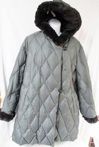Womens I. MADISON Long DOWN JACKET Coat Puffer Faux FUR BLACK OLIVE L