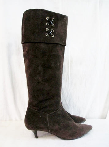 ELLEN TRACY Sport PATSY Leather Suede Over Knee High Heel BOOT BROWN 9.5 Shoe