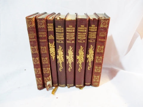 Antique 8 Leather Books LOT Decorative Staging BURGUNDY RED MAROON Home Design Color Therapy