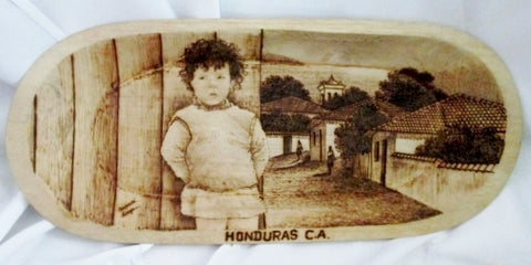 "Handmade 24"" LINZE HONDURAS Carved CHILD Wood TRAY Platter Original Art Display"